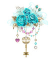 turquoise roses with keys vector image vector image