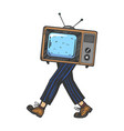 tv walks on its feet engraving vector image vector image