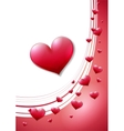 Valentines day card with scattered red heats vector image vector image