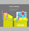 virtual reality for girls and boys cartoon banner vector image vector image