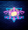 vntage wild west emblem glowing neon sign vector image vector image