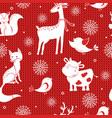 Winter seamless pattern with snowflakes deer fox