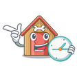 with clock cartoon dog house and bone isolated vector image vector image