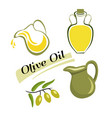 set of elements of olive oil branch with green vector image