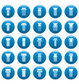 ancient columns icons set blue simple vector image
