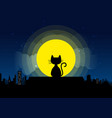 cat sitting on a roof background of the moonlight vector image