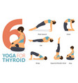 6 yoga poses for thyroid concept vector image vector image