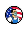 american food worker as hero usa flag circle icon vector image vector image