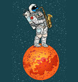 astronaut plays saxophone on mars vector image