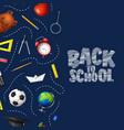 back to school in chalkboard background vector image vector image