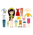 Beautiful cartoon fashion girl cloth vector image vector image