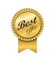 best offer award ribbon icon gold sign isolated vector image