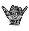black hang loose silhouette with white lettering vector image