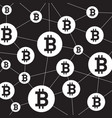 blockchain structure and bitcoin icon outline and vector image