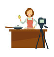 blogger or vlogger woman shoot cooking vector image