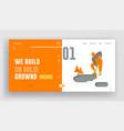 builder digging soil with shovel website landing vector image