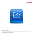 business graph icon - 3d blue button vector image