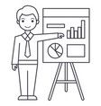 businessman showing presentation board line vector image