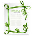 card with green bows and green ribbons vector image vector image