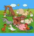 cartoon farm animals comic characters group vector image vector image