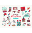 christmas new year cute holiday cartoon collection vector image vector image