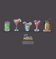 cocktails set for menu design bars vector image vector image