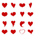collection hearts different shapes vector image