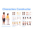 dark skin couple front view animated flat vector image