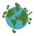 earth planet with trees and people in 3d vector image vector image