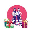 family with winter clothes and christmas gift box vector image
