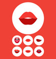 flat icon lips set of mouth teeth kiss and other vector image vector image
