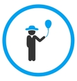 Gentleman With Balloon Rounded Icon vector image vector image