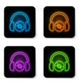 glowing neon headphones and cd or dvd icon vector image