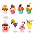 Halloween Desserts and Beverages Set vector image