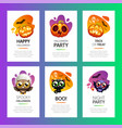 halloween greeting cards vibrant light set vector image