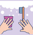 hands with plastic cup and toothbrush bathroom vector image vector image