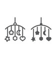 hanging toys line and glyph icon child and bed vector image vector image