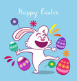 happy easter day background with rabbit vector image