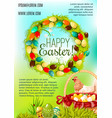 happy easter day cartoon poster design vector image vector image