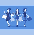 happy women after shopping vector image vector image