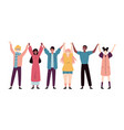 happy young people standing together and holding vector image vector image