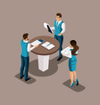 isometric bank employees in the banks office cond