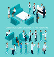 isometric set doctors nurses surgeons vector image