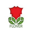 logo or emblem of a red flower with leaves vector image vector image