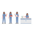 male doctor set in different pose group vector image