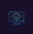 monitoring parental control icon eye on screen vector image vector image