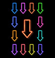 neon realistic arrows set showing down direction vector image vector image