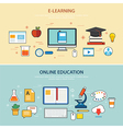 Online education and e-learning banner flat design