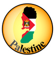 orange button with the image maps of Palestine vector image vector image