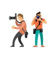 paparazzi journalist making photos on cameras vector image vector image